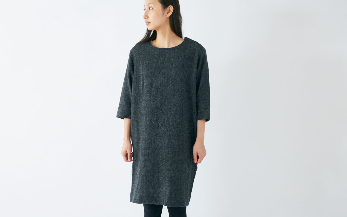 enrica wool onepiece dress black