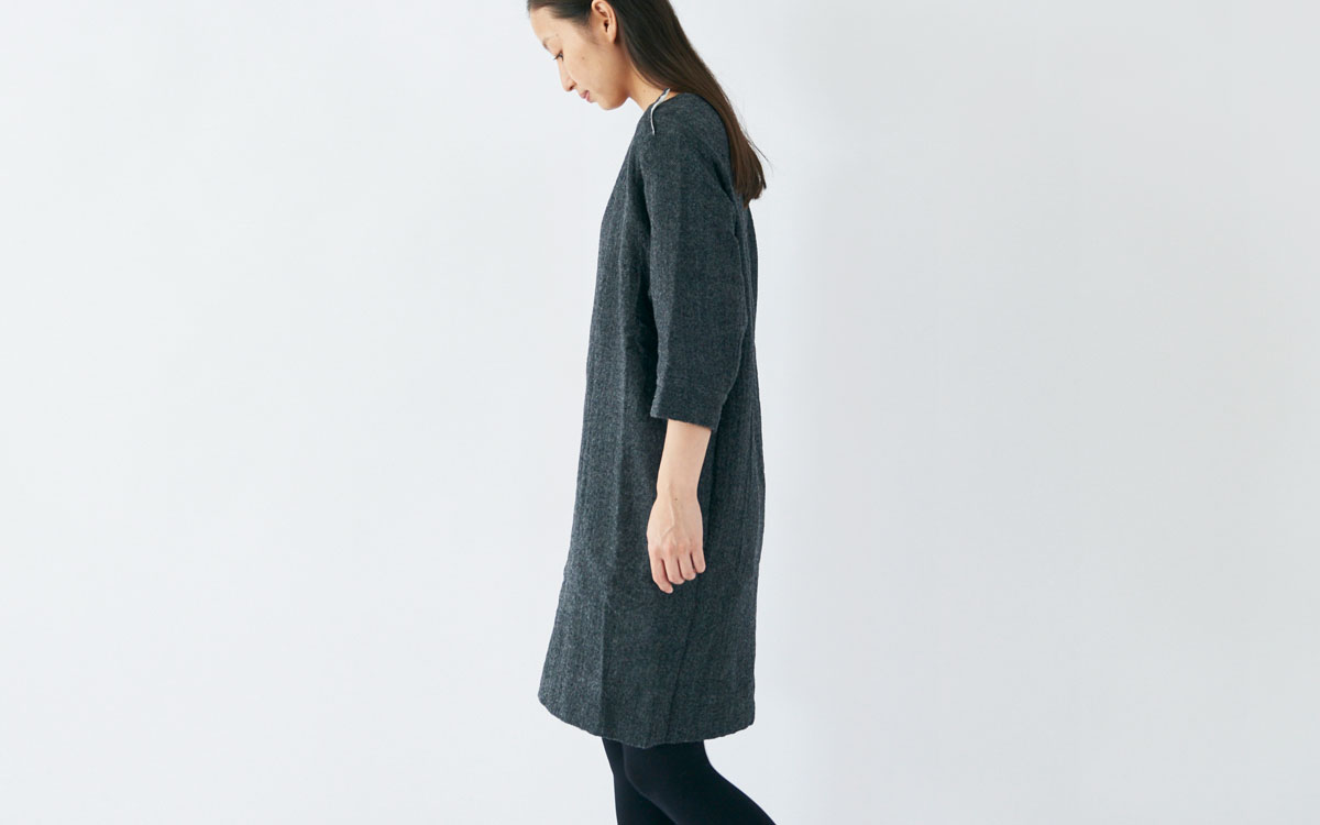enrica wool onepiece dress black side