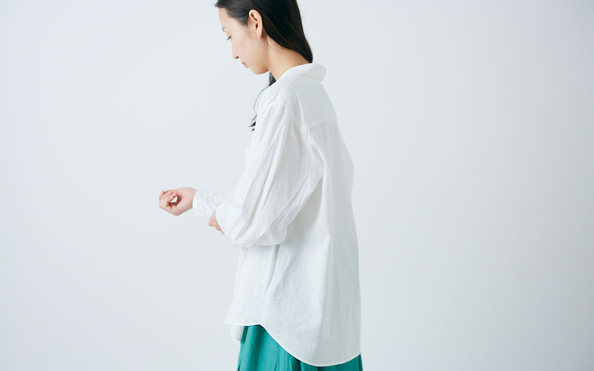 enrica×かぐれ cottonshirt(sheerwhite)