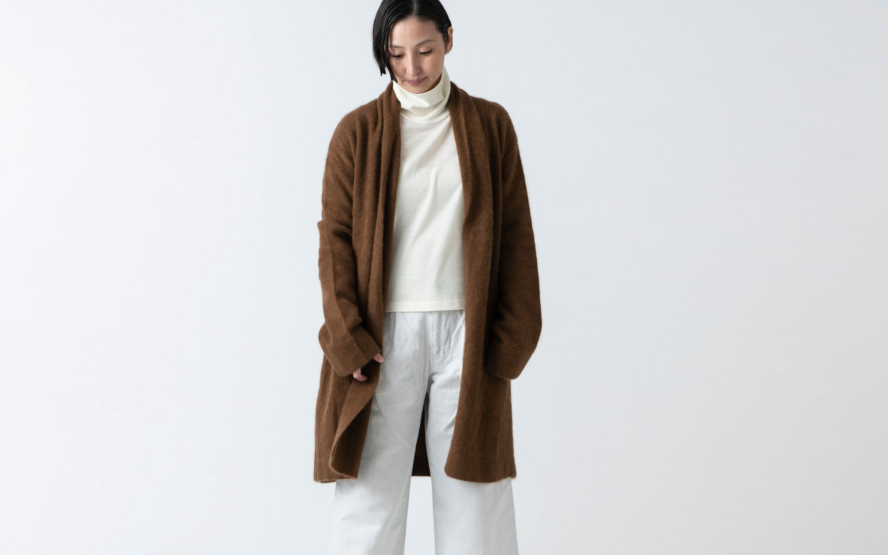 enrica raccoon knit gown / brown ラクーン